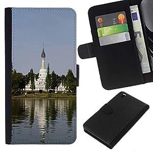 KLONGSHOP // Tirón de la caja Cartera de cuero con ranuras para tarjetas - Jardín Chino - HTC DESIRE 816 //