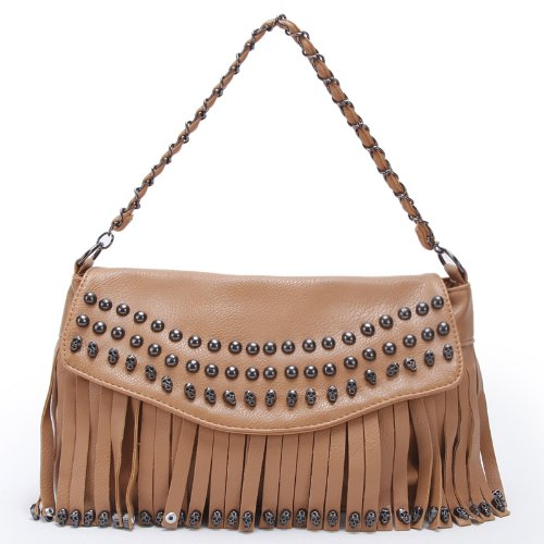 Doublju Women's Girl's Leisure Man-made Leather Hobo Clutch Shoulder Bag Tassel Handbag B305-BEIGE, Bags Central
