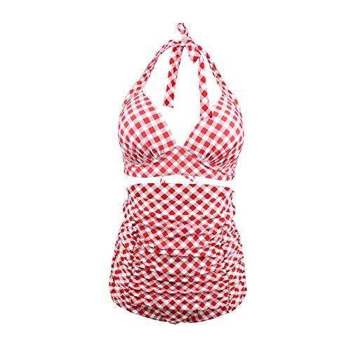 VAN HUIT Retro Pink Black Plaid Print High Waist Two-piece Bikini Swimsuits PkLL (Pink And Black Plaid)