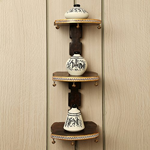 ExclusiveLane Wooden Wall Shelf With Terracotta Warli