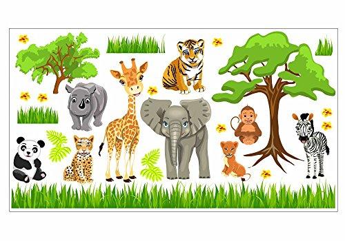 Nikima Schones Fur Kinder 088 Wandtattoo Baby Zoo Dschungel Tiere