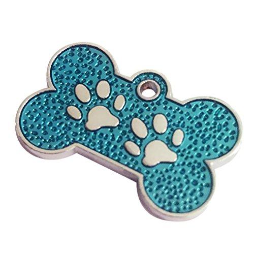Celendi 1 pc Charm Bone Glitter Paw Dog Cat Tag Collar Pendant Pet ID Tag Made of Zinc Alloy (Sky Blue)