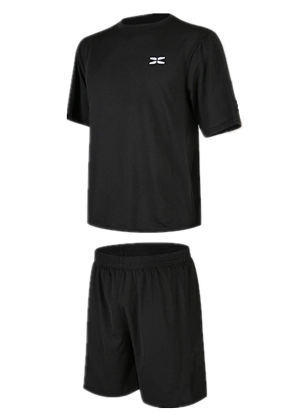 Summer Men's Sports Suit Fitness Clothing Quick-Drying Training Fitness Set(black2-convection,S)