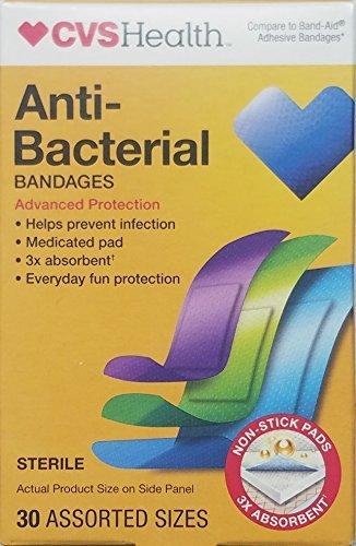 (3 Pack) Advanced Protection Antibacterial Bandages 30 Assorted (Cvs Antibacterial)