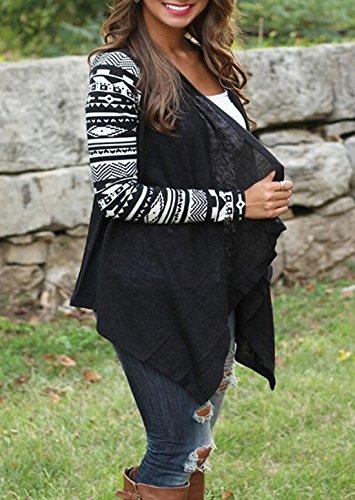 Noir Imprime Shirts Haut Blouse Cardigan Chemisier Printemps Femmes Blousons Tops Overcoat Irregulier Manches Casual Automne et Outerwear Longues qHxTwSXa