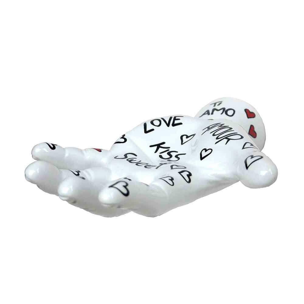 Antartidee Appendiabiti da parete M-Finger bianco in resina decorato a mano