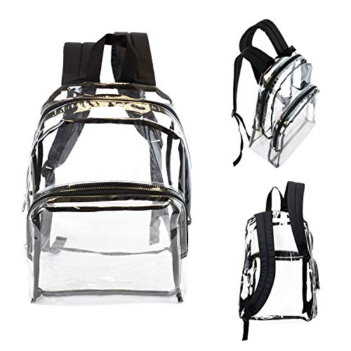 Wholesale 17 Inch Clear Backpacks with Black Trim - Bulk Case of 24 Transparent ()