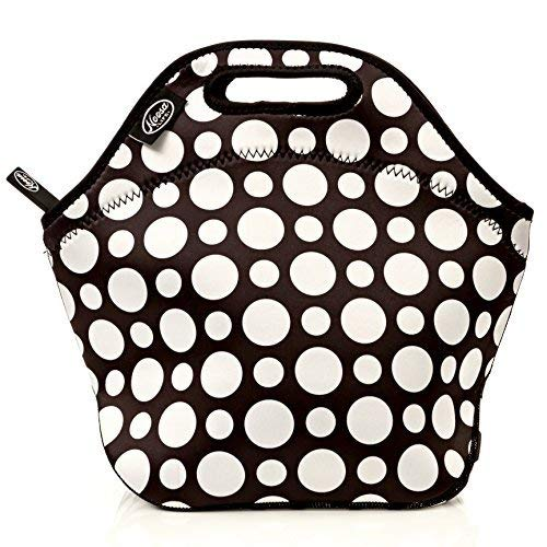 Noosa Life LARGE Neoprene Lunch Bag - Insulated Tote - Heavy Duty Zipper - Premium Stitching - 13 x 12.5 x 6.5 inches - Lunch Bag for Men Women Kids & Nurses - Best Travel Bag (Polka Dot)