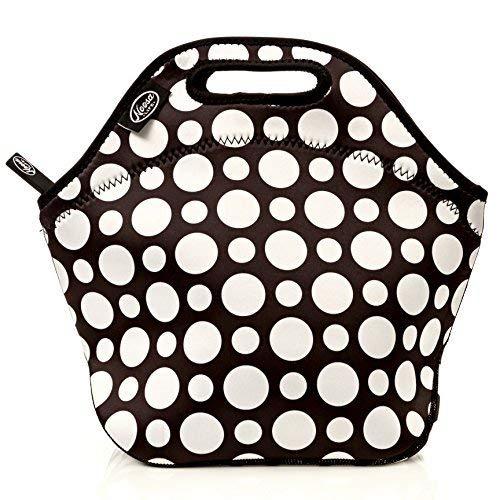 Box Dot Lunch Polka - Noosa Life LARGE Neoprene Lunch Bag - Insulated Tote - Heavy Duty Zipper - Premium Stitching - 13 x 12.5 x 6.5 inches - Lunch Bag for Men Women Kids & Nurses - Best Travel Bag (Polka Dot)