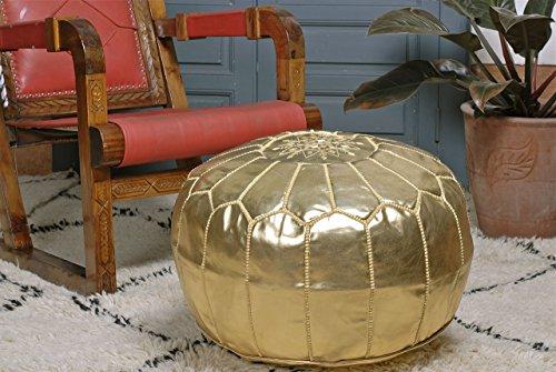 Moroccan Pouf Ottoman Footstool, Gold, Handmade.