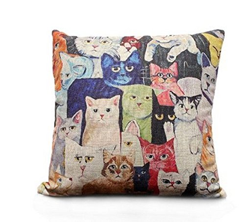 SLS Cotton Linen Decorative Throw Pillow Case Cushion Cover Cat 18