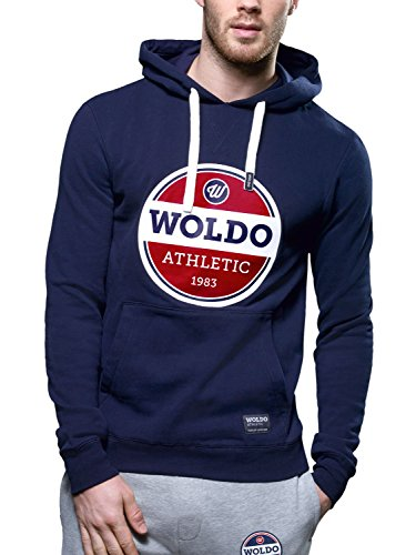 WOLDO Athletic Herren Hoodie Kapuzenpullover Pullover Sweatshirt Fitness Sport Gym Slim Fit (XL, Crosby / blau)