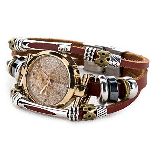 (Women's Lady's Fashion Wrist Bracelet Watch Classy Golden Round Dial )