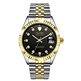 Baosity Tevise Stainless Steel Wristband Anti Scratch Mechanical Automatic Waterproof Calendar Analog Watch - Black & Gold, As described