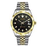 MonkeyJack Tevise Men's Luxury Fashionable Business Dress Automatic Mechanical Analog Wrist Watch - Black & Gold, As described