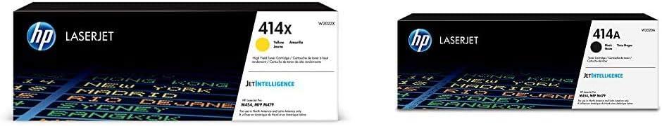 HP 414X | W2022X | Toner Cartridge | Yellow | High Yield & 414A | W2020A | Toner Cartridge | Black