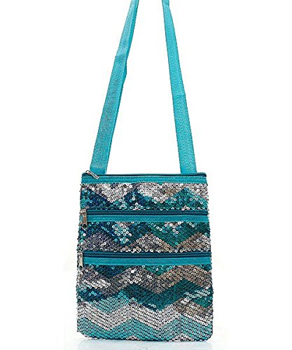 Aqua Sequin Chevron Body Handbag Stripe Hipster Green Cross AwArqY