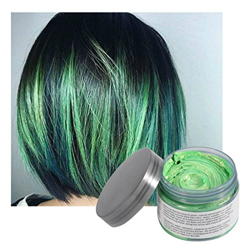 Natural Pink Green (Vakker Hair Wax Color Styling Cream Mud, Natural Hairstyle Dye Pomade, Party Cosplay, Green)