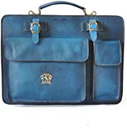 Pratesi Italian Leather Personalized Custom Engraving Business Bag Milano Big in cow leather - Bruce Blue