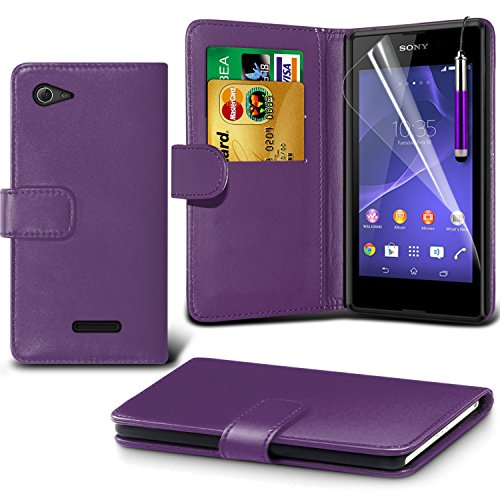 ( Purple ) Sony Xperia E3 Case Premium Quality BookStyle PU Leather Wallet Flip With 2 Credit / Debit Card Slot Skin Cover With LCD Screen Protector Guard, Polishing Cloth & Mini Retractable Stylus Pen by Fone-Case