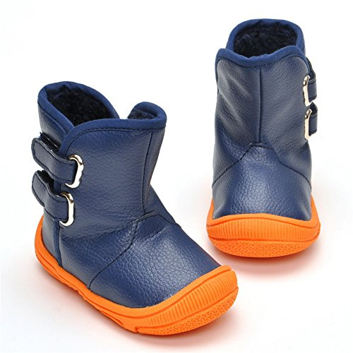 Toddler Snow Boots Baby Boys Plush Winter Warm Boots Blue Shoes Rubber Sole (Sole Boots Rubber)