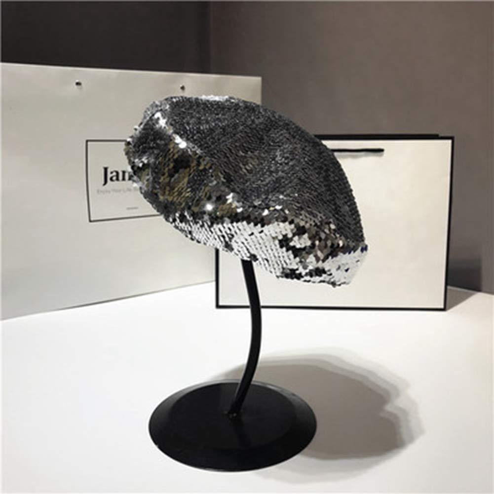 BAOBAO Womens Sparkling Sequins Beret Cap Adjustable Retro Benie Painter Hat for Dance Club