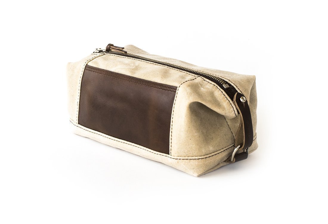 Waxed Canvas Dopp Kit: Expandable, Water-Resistant, Hanging Toiletry Bag, Travel, Natural - No. 321 (Made in the USA)