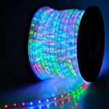 150-ft 2-Wire Flexible RGB Multi-Color Illuminated 1620 LED Bulbs Rope Light 110v w/ Power Cords Connectors Glue for Holiday Strip Ribbon Tube Decorative Lighting