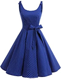 1950s Bowknot Vintage Retro Polka Dot Rockabilly Swing Dress