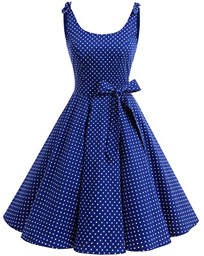 Bbonlinedress 1950's Bowknot Vintage Retro Polka Dot Rockabilly Swing Dress Royalblue White Dot XL (Dot Polka Dress Floral)