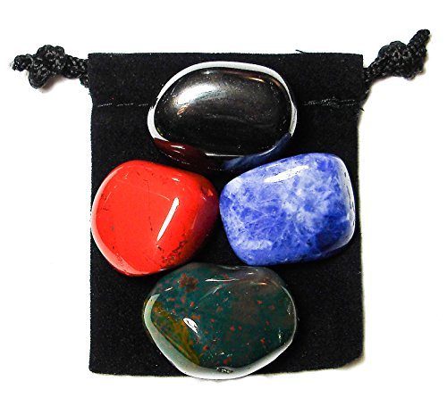 Hematite Healing Stone - ANXIETY TAMER Tumbled Crystal Healing Set with Pouch & Description Card - Bloodstone, Hematite, Jasper, and Sodalite