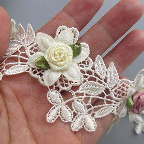 Flat Lace White flowers Trimmings 1 inch 24 mm  2 1//2 metres
