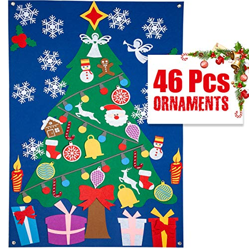 DIY Felt Christmas Tree Set for Kids/Toddlers/Children, 3.28ft(Large) Upgraded Play Tree with 46 Pcs Detachable Ornaments Wall Hanging Decorations, X-mas Season New Year Holiday Educational Gifts