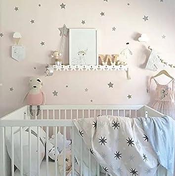 Kinderzimmer sterne deko  WandSticker4U®- Wandtattoo 50 Sterne zum Kleben | schwarz/ silber ...