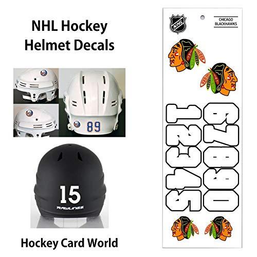 (Chicago Blackhawks (WHITE) NHL Hockey Helmet Decals Sticker)