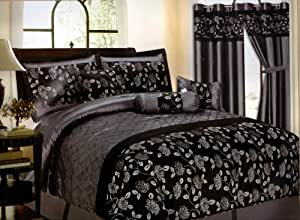 Amazon.com: 7 Piece Bed In A Bag, CORNELIA Black / Silver ...