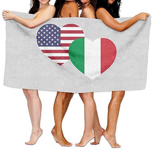 SWEET-YZ US Italian Flag Heart Moisture Absorption Bath Towels Beach Towels For Adult & Teen