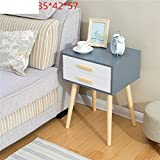 Nordic solid wood bedside table Simple modern bedside cabinet [japanese-style] Mini locker Living room storage cabinet-E