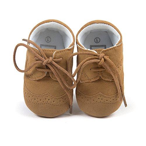 Top-Sell 1pair Zapatos De Bebé Infantiles Faux Leather Anti Slip Soft Bottom Prewalker Shoelace Caqui