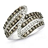 14k White Gold Brown and White Diamond Ring, Size 7 (1cttw, G-H Color, I1-I2 Clarity)