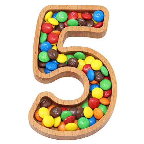 Wooden Number 5 Candy Dish   Monogram Nut Bowl   Snack, Cookie, Cracker Serving Plate   Decorative Display, Home Accessory   Unique Gift Idea   for Date, Baby Shower, Birthday Party   Small Size (Shaped Number Plates)