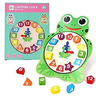 Sealive Animals Shape Sorting Clock for Kids, Telling Time Game Learning Clocks Wooden Clock Toy Toddler Puzzles 3 Year Old up