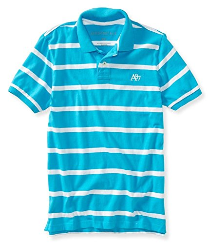 Aeropostale Mens A87 Striped Rugby Polo Shirt 462 (Aeropostale Mens Polo Shirt)