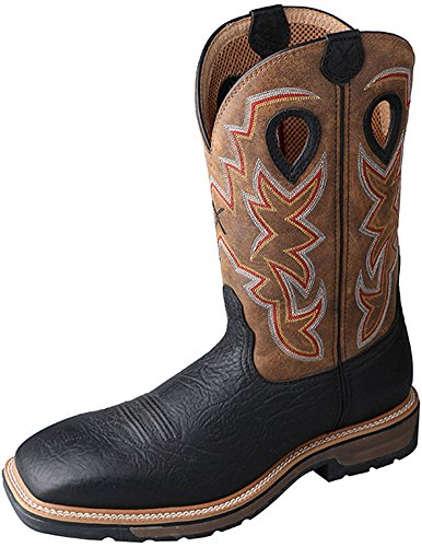 Twisted X Mens Black Leather Steel Toe Lite Weight Cowboy Work Boots 10.5D