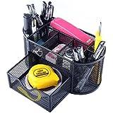 Organizzatore da scrivania per ufficio, multifunzionale, in metallo nero, con portapenne, colore: nero
