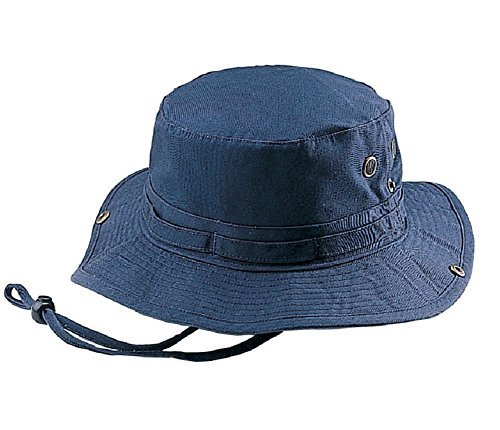 Mega Cap Wholesale Washed Cotton Fishing Hunting Hiking Outdoor Bucket Hat w/Chin Cord (Navy, Size M) - 21253]()