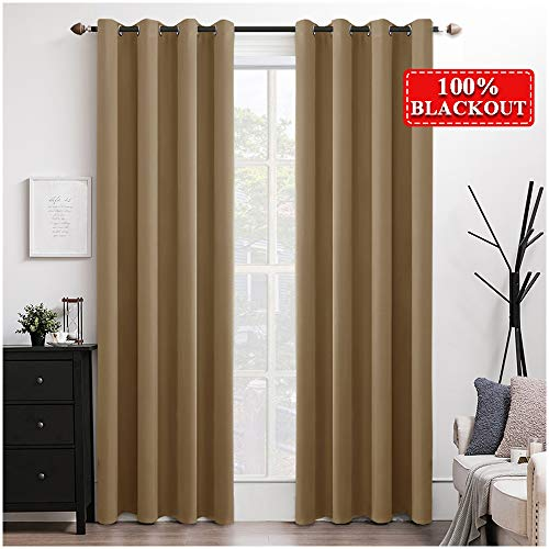 MIULEE 100% Blackout Curtains Thermal Insulated Solid Grommet Long Curtains/Drapes/Shades for Bedroom Living Room 2 Panels Khaki 52x108 Inch (Panels Long Drapery 108 Inches)