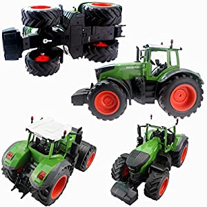 Fistone RC Truck Farm Tractor 2.4G 1:16 High Simulation Scale Construction Vehicle Remote Control Toy with Lights and Sounds Kids Toy Hobby Model