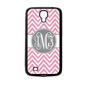 Hot Pink Chevron Zigzag Pattern & Gray Monogram White Initials Personalized Custom Samsung Galaxy Mega i9200 Best Rubber & Plastic Case