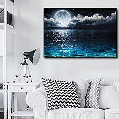 Grand Portrait, Moon Illuminating The Clear Ocean Blue Wall Decor, With Expert Quality